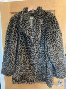 Ladies Vintage Leopard Print Faux Fur Coat By M&S St Michael UK 14/16 Ex Cond