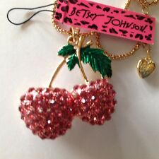 """PRETTY PINK CRYSTAL CHERRIES  28"""" Pendant Necklace Betsey Johnson+"""
