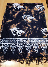 Vintage Batik Fringed Shawl White Dolphins Leaping Black and Brown 45 x 60 Rayon