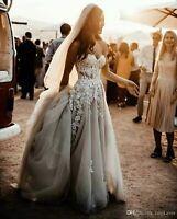 Beach Wedding Dresses Bridal Gowns Strapless Court Train Appliques Beading Veils