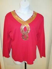 Quacker Factory Red Long Sleeve Shirt Cotton Top Gold Sequin Detail Size 3X