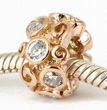 SOLID 9CT 9K ROSE GOLD SWIRL BEAD w 8 Big Sparkling CZ For Charm Bracelet AUST