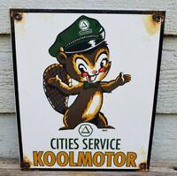 CITIES SERVICE KOOLMOTOR PORCELAIN ENAMEL GAS PUMP ADVERTISING SIGN