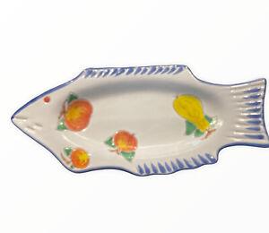 Studio Art Pottery Fish Platter Dish Wall Decor Fruit Cheese Crackers SIGNED