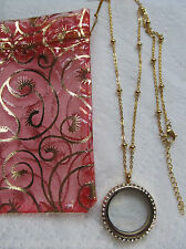 Large Gold living memory locket w/ crystals + gold ball station chain new