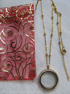 Large living gold memory charms locket w/ crystals ball station chain gbag USA