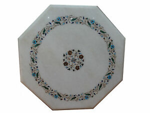 """24"""" Marble Center Table Top Semi Precious Stones Inlay Home & Garden Decor"""