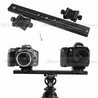 35cm Metal Long Quick Release Plate +2 2-faced Clamp for Camera Tripod Ball Head