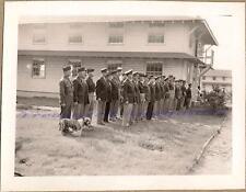 WWII US Army Pine Camp New York Base Officers Group English Bulldog Mascot Photo