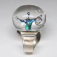 Lapponia Ring The Man in Cosmos by Björn Weckström in 925`er Silber/Acryl