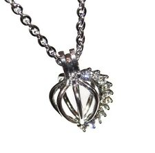 """Gem Shell Cage with Optional Stainless Steel Chain 18"""" 20"""" 24"""" 28"""" Pick a Pearl"""