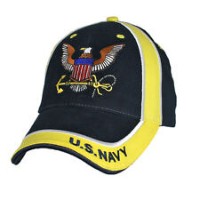 U.S. Navy Insignia Hat / USN Navy & Yellow Baseball Cap 6594