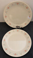 "Lot Of 2 Corelle 'Forever Yours'  10"" Dinner Plate Pink Hearts Tulips Retired"