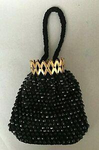 small VINTAGE BLACK BEADED SPARKLY PURSE small handbag evening bag