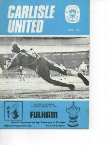 Carlisle United v Fulham 1974/75 FA Cup 6th Round