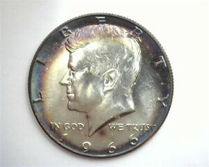 1966 KENNEDY SILVER 50 CENTS GEM++ UNCIRCULATED NICE TONING!! RARE THIS NICE!!