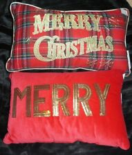 2 NEW RAZ MERRY CHRISTMAS PLAID PILLOW & SEQUIN MERRY VELVET PILLOW