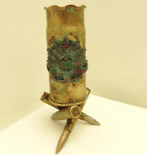 A Military WWI Brass Trench Vase Pot With Australian Badge Albert Somme (4909