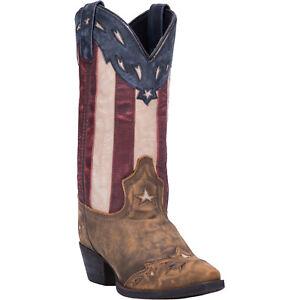Laredo Womens Keyes Western Cowboy Boots Leather Stars Stripe Print Snip Toe Tan