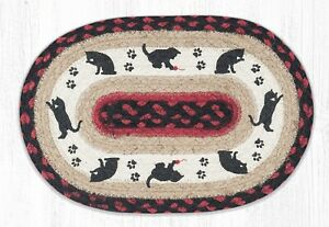 CAT & KITTEN 100% Natural Braided Jute Oval Swatch Trivet/Placemat, Earth Rugs