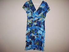 Fashion Bug Womens Size 10 Multi-Color Floral Ruffled Sheath Dress Cap Sleeves