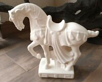 "Vintage Fitz And Floyd White Ceramic Glazed Prancing Horse Statue 9.5"" H"