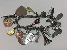 "Estate Vintage Sterling Silver & 800 Charm Bracelet, 18 Charms Some 3D 7"" Unique"