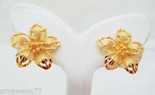 22K 23K 24K THAI  BAHT YELLOW GOLD GP FLOWER EARRINGS JEWELRY E61
