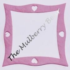 50 Frames square hearts Diecut pink Handmade Mulberry Paper Curved photos cards