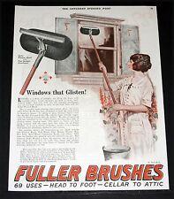 1924 OLD MAGAZINE PRINT AD, FULLER BRUSH, WINDOWS GLISTEN, CELLAR TO ATTIC, ART!