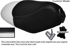 WHITE & BLACK CUSTOM FITS PEUGEOT LOOXOR 50 100 125 REAL LEATHER SEAT COVER