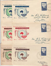 Stamp Australia Olympic Games 2/- publicity on set 6 generic ROYAL brand FDC's