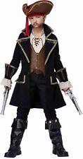 Frock Coat Captain Jack Caribbean Medieval Child Pirate Costume Black Brown