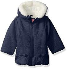 Wippette Girls Sueded Microfiber Quilted Puffer, Navy, 2T