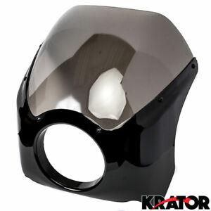 Krator Headlight Fairing Custom Black Visor with Bracket For 2001-2005 Harley Davidson Dyna Models