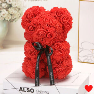 Valentines Day Gift Rose Bear Preserved Flower Artificial Rose Flower Decoration