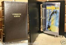 Currency Album w/ 20 Binder Pages Modern Banknote Sleeves Lighthouse LEATHER