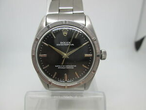 ROLEX OYSTER PERPETUAL REF1007 CAL1560 ENGINE TURN BEZEL SS AUTOMATIC MENS WATCH