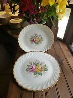 "TWO 10"" & 12"" QUBAN ROYAL CHINA Large Oval Serving Platter 22K Gold Trim Floral"