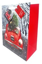 Christmas Gift Bag Large Quality Present Wrap Traditional Vintage Car +Free Tape