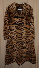 Vtg. Tiger Stripe Coat Faux Fur Animal Print Swahili Fitted Petite Women's  5
