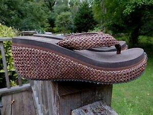 Volatile brown textile wedge flip flops 8 NWOB!