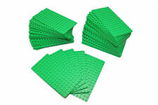 Genuine LEGO Base Plate 8x16 MiniFigure - LOT of 50 - BRIGHT GREEN Thin - NEW