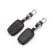 4 Buttons Black PU Leather Remote Key Fob Bag Holder Cover Case Fit KIA K2 K3 K5