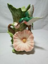 Vintage Fitz and Floyd Hummingbird Hibiscus Porcelain Bud Vase Vessel