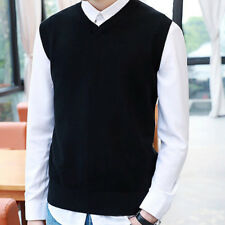 Men's Sweater Knitted Vest Warm Wool V-Neck Sleeveless Pullover Tops Shirt M-2XL