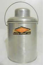1940's Aluminum & Glass Deluxe Picnic Jug w/ handle & Cup; Faris St Louis Mo