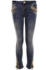 Damen Nieten Strass Ripped Faded Skin Tight Skinny Denim 3/4 Jeans