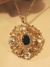 Sparkling Lacy Openwork White & Black Rhinestone Round Goldtone Pendant Necklace