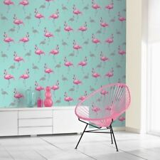 Flamingo Wallpaper Queen Sparkly Glitter Crowns Animals Teal Pink Arthouse